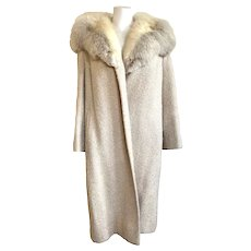 Vintage 1960s Cream Bouclé Wool Coat with Fur Collar by Shagmoor Linder Bros