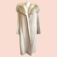 Vintage 1960s Cream Wool Coat with Fur Collar by Shagmoor