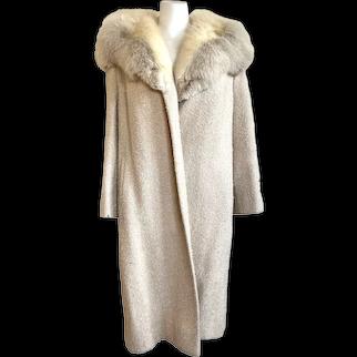 Vintage 1960s Cream Bouclé Wool Coat with Fur Collar by Shagmoor Linder Bros