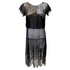 Vintage 1920s Black and Gold Lame Sheer Evening Dress