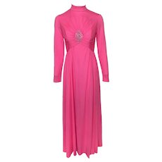 Vintage 1970s Hot Pink Ruched Jeweled Turtleneck Evening Gown Bernie Bee