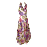 Vintage 1970s Ruffled Pink Purple Floral Organza Halter T Back Gown