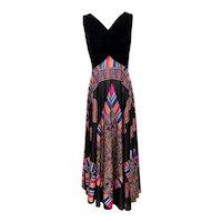 Vintage 1970s Black Velvet Multi-Color Full Twirl Elinor Gay Gown
