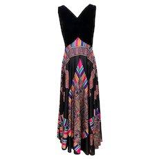 Vintage 1970s Black Velvet & Multi-Color Gown by Elinor Gay