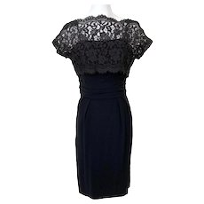 Vintage 1950s Black Lace Top Sheath Cocktail Dress
