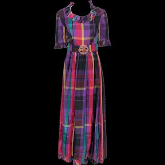Vintage 1970s Ruffled Jewel-Toned Plaid Taffeta Gown Rhinestone Belt