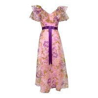 Vintage 1970s Pink Floral Ruffled Floral Organza Gown Purple Satin Belt