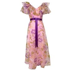 Vintage 1970s Pink Floral Ruffled Floral Organza Gown Purple Satin Belt