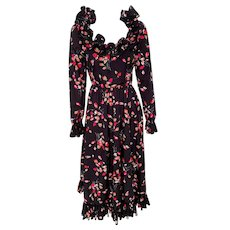 Vintage 1970s Black Floral Gown by Victor Costa