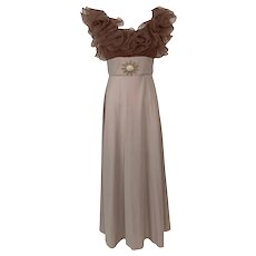 Vintage 1970s Ruffled Organza Taupe Evening Gown Jeweled Brooch