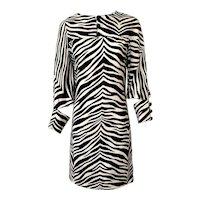 Vintage 1970s Linen Zebra Print Dress by Geno