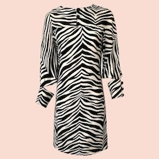 Vintage 1970s Linen Zebra Print Dress by Geno