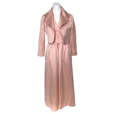 Vintage 1960s Pink Silk Satin Halter Ballgown with Bolero Top