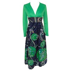 Vintage 1970s Kelly Green Patterned Gown