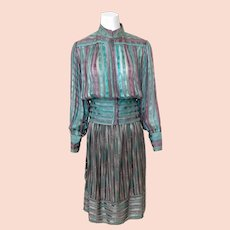 Vintage 1970s Silk Blouse and Skirt Set by the Silk Farm