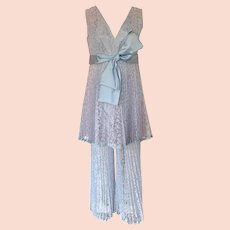 Vintage 1960s Mod Pleated Lavender Lace Babydoll Top and Pants Satin Bow
