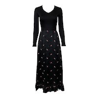 Vintage 1970s Romantic Black Satin Red Embroidered Rosebud Gown Gene Stanley