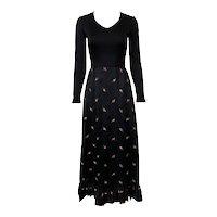 Vintage 1970s Black Satin Rosebud Gown by Gene Stanley