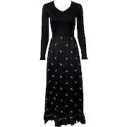 Vintage 1970s Romantic Black Satin Red Embroidered Rosebud Gown Gene Stanley