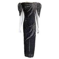 Vintage Judith Ann Creations Black Beaded Sequined Open Back Gown