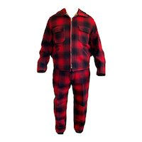 Vintage 1960 1970 Clearfield Field Stream Red Checker Plaid Wool Jacket Pants Hunting Suit