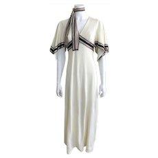 Vintage 1970s Allegro Cream Dress Silk Banded Handkerchief Sleeves Scarf