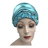 Vintage 1960s Christian Dior Blue Satin Silk Flower Stud Rhinestone Turban Hat