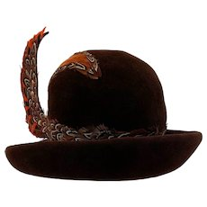 Vintage 1960s Jack McConnells' Flair Feathered Brown Derby Hat