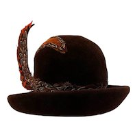 Vintage 1960s Plumed Feather Brown Wool Derby Hat Jack McConnells Flair
