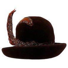 Vintage 1960s Plumed Feather Brown Wool Derby Hat Jack McConnells Flair
