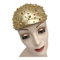 Vintage 1960s Mod Gold Lamé Studded Rhinestone Skullcap Hat John Wanamaker