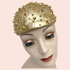 Vintage 1960s Mod Gold Lamé Metal and Rhinestone Studded Skullcap Hat