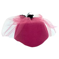 Vintage 1970s Bright Pink Pillbox Hat Black Velvet Feathers Pink Netting Ernie
