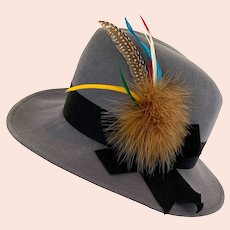 Vintage 1960s Gray Wool Fedora with Multi Feather Plume Mr. John Moderne