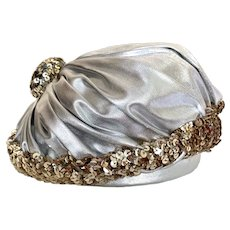 Vintage 1950s Christian Dior Silver Lamé Sequined Hat