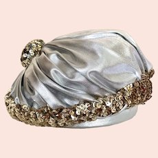 Vintage 1950s Christian Dior Silver Lamé Gold Sequin Oversized Puffy Beret Hat