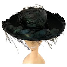 Vintage 1950s Black and Green Iridescent Rooster Feather Wool Felt Bolero Hat