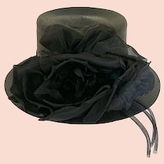 Vintage 1950s Black Straw Bolero Hat by Jean Pierre