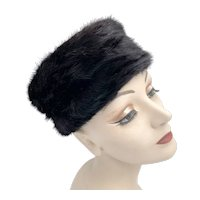 Vintage 1950s Black Mink Fur Pillbox Hat Bambergers