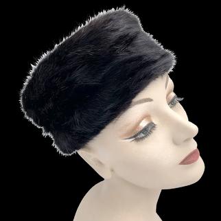 Vintage 1950s Black Mink Pillbox Hat Bambergers