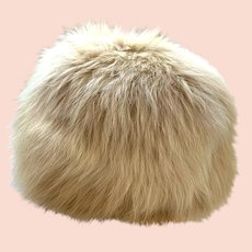 Vintage 1960s Mod Blonde Fur Puff Hat