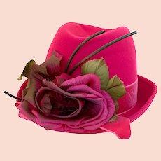 Vintage 1970s Mr. Richard Bright Pink Flowered Fedora
