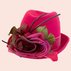 Vintage 1970s Bright Pink Wool Velvet Fedora Hat Fabric Flowers Mr. Richard