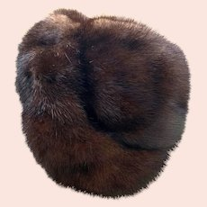 Vintage 1950s Brown Mink Halo Hat by Holenstein