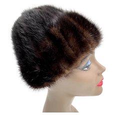 Vintage 1950 Chocolate Brown Peaked Brimmed Cozy Mink Fur Hat