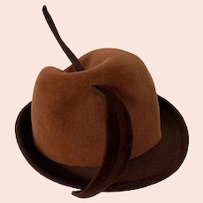 Vintage 1960s Ladies Brown Wool Fedora Plumed Hat Mr. John Classic