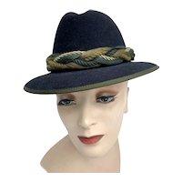Vintage Traditional Ladies Black Wool Hunting Hat Rope Hatband Salzburg Austria