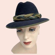 Vintage Traditional Black Wool Hunting Hat Rope Hatband Salzburg Austria