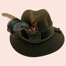 Vintage Traditional Austrian Green Wool Plumed Feather Fedora Sportalm Kiztbuhel