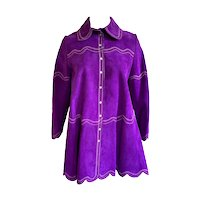 Vintage 1970s 'Gassy Jack' Ladies Purple Suede Embroidered Swing Jacket